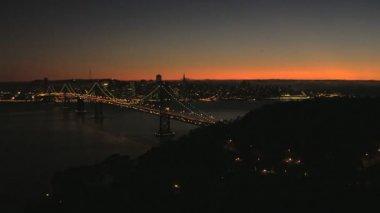 San Francisco Oakland Bay Bridge sunset city — Stock Video