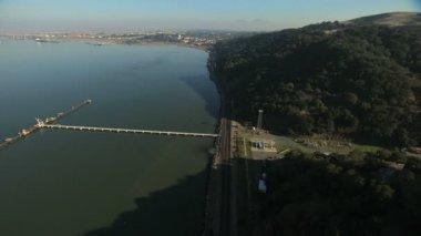 Aerial San Francisco Carquinez Strait ship California USA — Stock Video