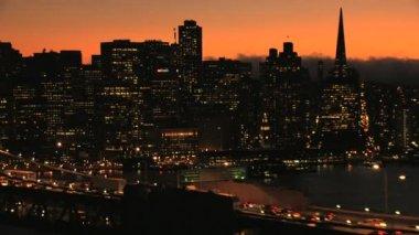 San Francisco Oakland Bay Bridge sunset city — Stockvideo