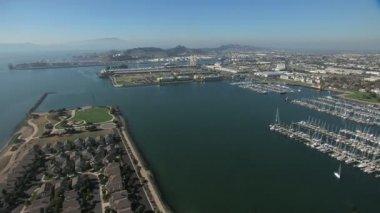 Aerial Marina Bay Harbour boats San Francisco USA — Stock Video