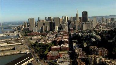 San Francisco City California USA skyscrapers boat Wharf — Stock Video