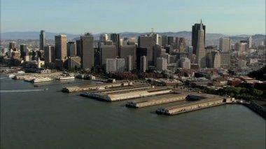 California USA San Francisco city skyscraper Wharf — Stock Video