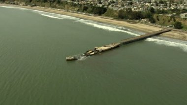 Aerial Monterey coastline ship wreck Pacific California USA — Stock Video