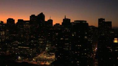 San Francisco Bay zachód miasta wieżowce Downtown — Wideo stockowe