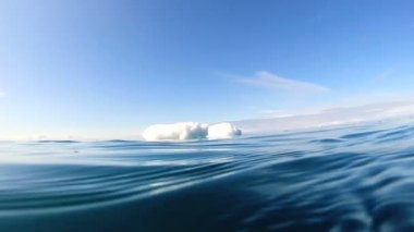 Underwater surface thawing glacial polar icecap — Stock Video