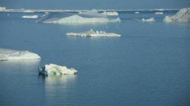 Ilulissat harbor and Disko Bay and glacier — Stock Video