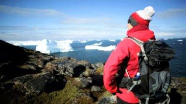 Female Hiker during Expedition at Disko Bay Arctic Circle — Stock Video