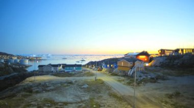 Ilulissat Arctic town colorful houses — Stock Video
