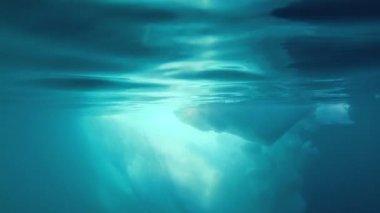 水下表面融化冰川极地冰盖 — 图库视频影像