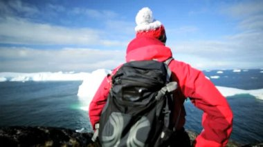 Female Hiker during Expedition at Disko Bay Arctic Circle — Stock Video