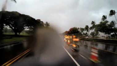 Coastal drive Tropical Cyclone Hilo — Stock Video