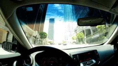 Driving downtown commuter city road — Stock Video