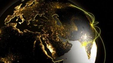 3D business communication globe motion graphics — Stock Video