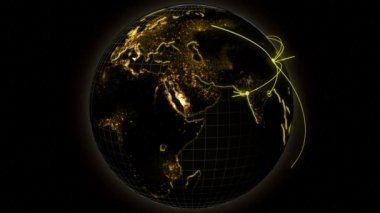 3D business communication global motion graphics — Stock Video