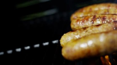 Grilled meat sausages on BBQ — Stock Video