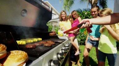 Family having fun at home garden — Stock Video