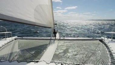 Luxury Yacht in the Ocean — Stockvideo