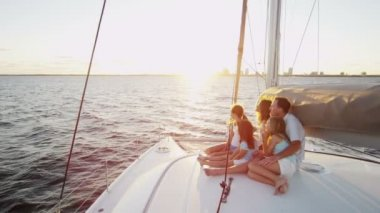 Loving Parents and Young Daughters on Luxury Yacht — Stock Video