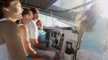 Family with children sailing on luxury yacht — Stock Video