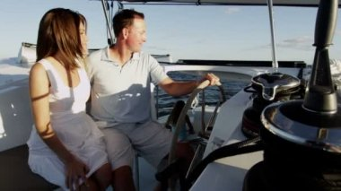 Young Couple Sailing on luxury Yacht — Stock Video