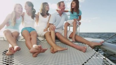 Family with children having fun on luxury yacht — Stock Video