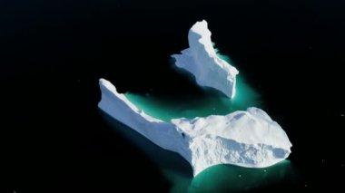 Glacial Frozen Water Disko Bay Greenland — Stock Video