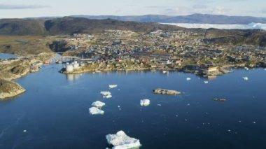 Drifting Ice Fjord Greenland — Stock Video