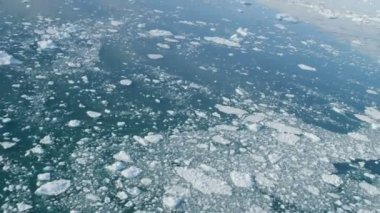 Aerial Drifting Ice Floes Greenland — Stock Video