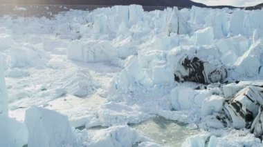 Ice Meltwater Eqi Glacier Greenland — Stock Video