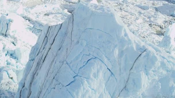 Glaciar de la bahía de Disko de Groenlandia aérea — Vídeo de stock