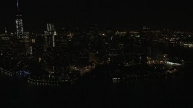 Manhattan illuminated Financial District New York — Stock Video