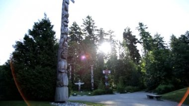 Indian Totem Pole Stanley Park — Stock Video