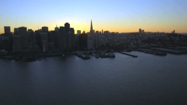 Sunset view city Skyscrapers San Francisco — Stock Video