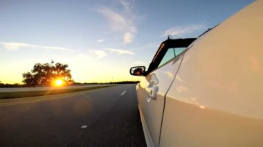 Road trip on luxury cabriolet car — Stock Video