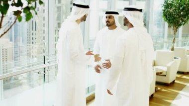 Arabic businessmen in meets in modern office — Stock Video