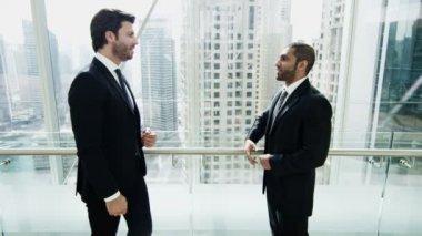 Businessmen meeting in Dubai modern office building — Stock Video