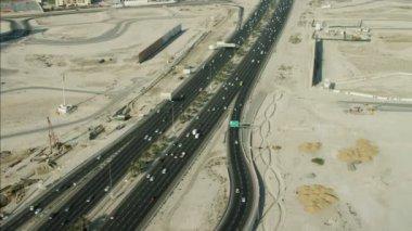 Aerial Dubai traffic Intersection — Stock Video