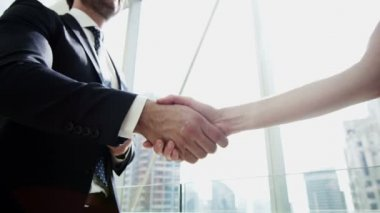 Businesswoman and businessman shaking hands — Stock Video