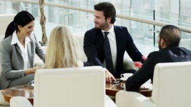 Business team having meeting in Dubai office building — Stock Video