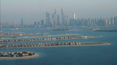 Dubai City Skyscrapers Palm Jumeirah Island — Stock Video