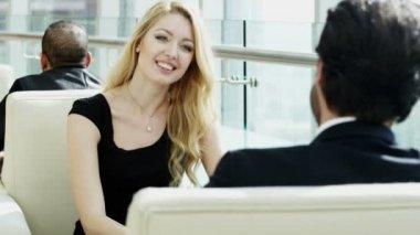 Business people having meeting in office building — Stock Video