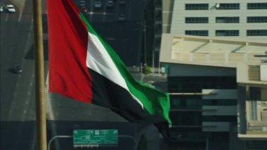 Aerial UAE National Flag flying — Stok video