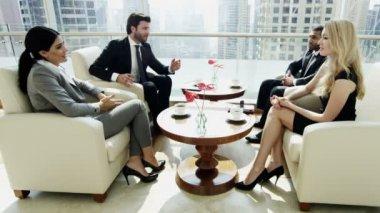 Business team having meeting in Dubai office building — Стоковое видео