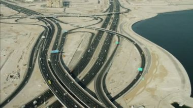 Aerial Dubai traffic Intersection — Stock Video