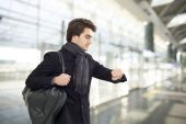 Young man waiting in airport — Stock Photo