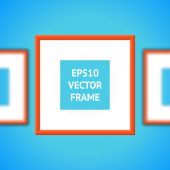 Orange Photo Frame On A Blue Background — 图库矢量图片