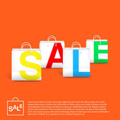 Orange Sale Background With White Empty Bags — ストックベクタ