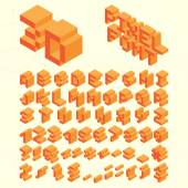 Isometric Pixel Font, Alphabet — ストックベクタ