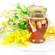 Honey with nuts and flowers — Stock Photo #59117307