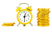 Clock with coins isolated — Stock Photo